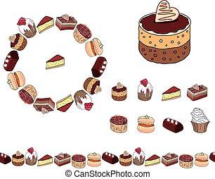 menu., anders, postkaarten, dessert., jouw, guirlande, voorwerpen, white., set, restaurant, aankondigingen, frame, affiches, ronde, ontwerp, soorten