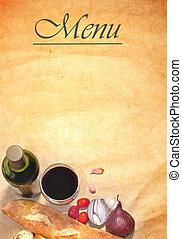 Menu background frame with basic ingredients including...