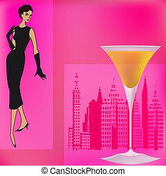 menu, bar, cocktail, szablon