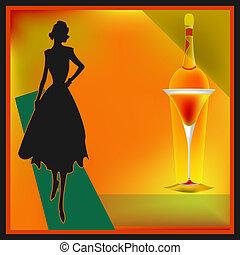 menu, bar, retro, cocktail, szablon