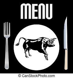 menu, biefstuk