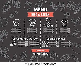 menu, biefstuk, ontwerp, bbq, restaurant
