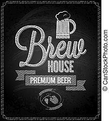 menu, bier, ontwerp, chalkboard, achtergrond, woning