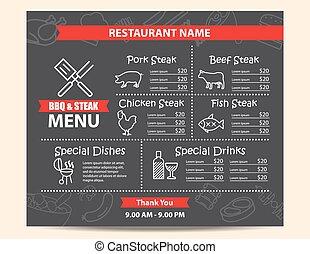menu, bifteck, conception, barbecue, restaurant
