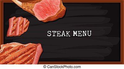 menu, bifteck, noir, planche