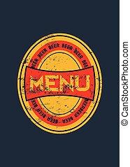menu, birra, design.