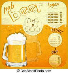 menu, birra, disegno quadrato, retro