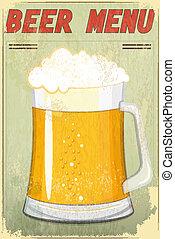 menu, birra, disegno, retro