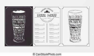 menu, birra, disegno