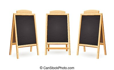 Menu Black Board Isolated Set. Vector