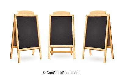 Menu Black Board Isolated Set. Vector
