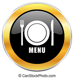 Menu black web icon with golden border isolated on white background. Round glossy button.