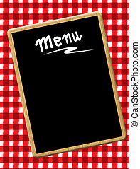 A menu card chalkboard on tablecloth background. Space for text.