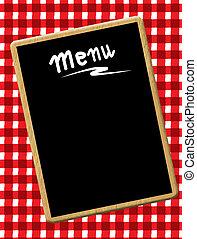 Menu blackboard - A menu card chalkboard on tablecloth...