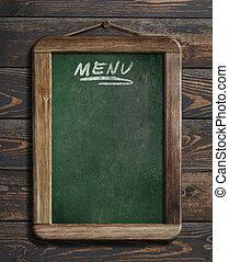 menu blackboard hanging on wooden wall 3d illustration