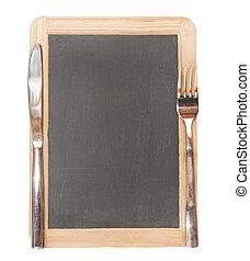 Menu blackboard with knife and fork