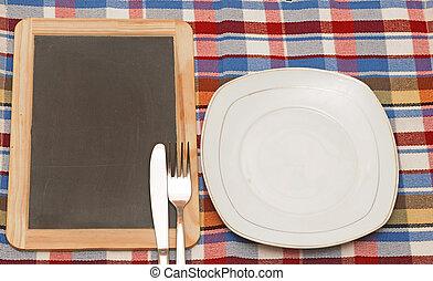 Menu blackboard with plate, knife and fork
