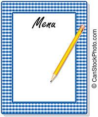 menu, blauwe , gingham, frame, potlood