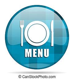menu blue round modern design internet icon on white background