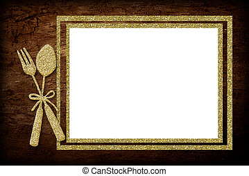 Menu board - A blank menu board with golden spoon and fork.