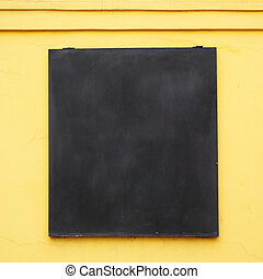 Menu board - Blank menu board on yellow wall, put any text ...