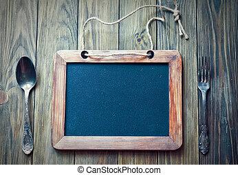 Menu board with slate - Menu board with vintage spoon and ...