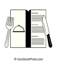 menu, branca, pretas, cutelaria, restaurante