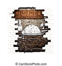 menu brick wall frame wooden boards plaster
