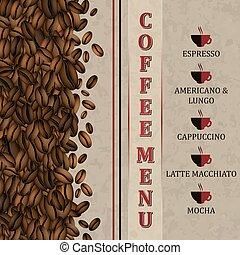 menu, café, beans., fond