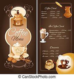 menu, café, café