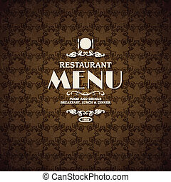 menu, café, couverture, gabarit, restaurant