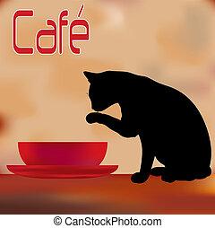 menu, café, crème, chat