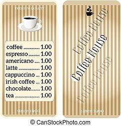 menu, café, restaurant., magasin
