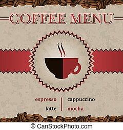 menu, café, vecteur, couverture, design.