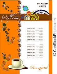 menu, (cafe), ristorante