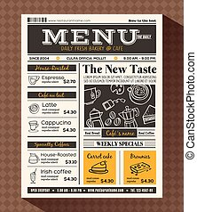 menu, caffè, disegno, sagoma, ristorante