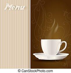 menu, caffè, fondo, tazza
