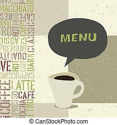 menu, caffè, vettore, eps8, sagoma