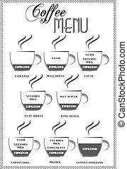 menu, caffè