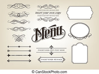 menu, calligrafia, set