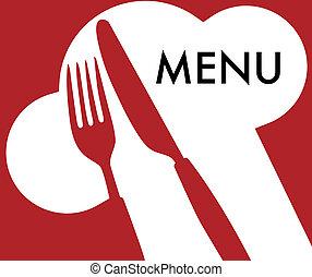 Menu Card Background - Cutlery and Menu Sign on Dark Red...