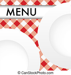 Menu Card Design - Menu Card - White Plates on Red and White...