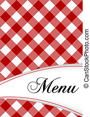 Menu Card Design - Menu Sign on Red Gingham Background
