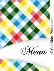 Menu Card Design - Menu Sign on Multicolor Gingham Texture