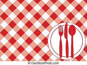 Menu Card - Red Gingham Texture, Plate and Cutlery