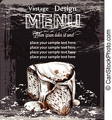 Menu card template cheesecake Vector. Fresh sweets design...