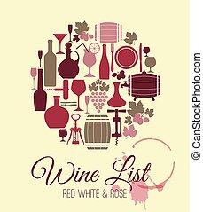 menu, card., vinho