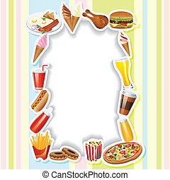 Menu Card with Fast food - easy to edit vector illustration...