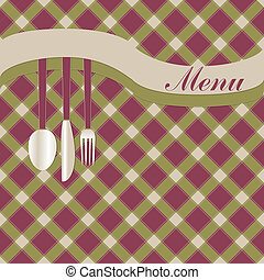 Menu card with fork, knife and spoon