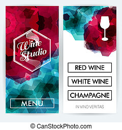 Menu cards for Wine Studio. Vector illustration.